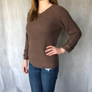 Debut brown long sleeve knit sweater size S/M
